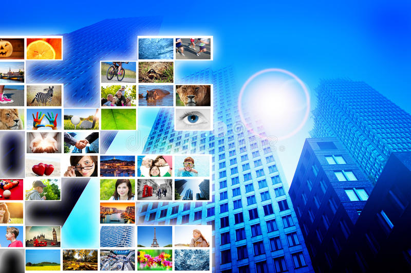 Pictures, photos display on modern skyscraper background. Media, technology conceptual stock photography