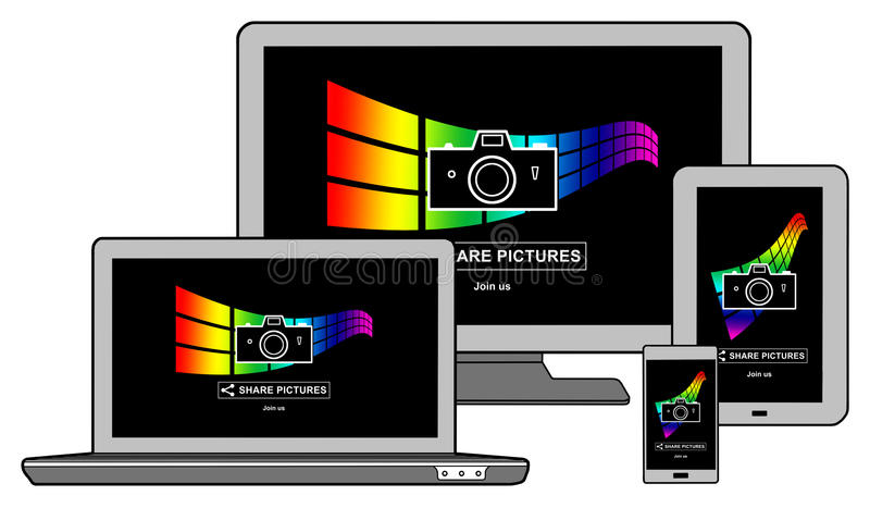 Pictures sharing concept on different devices vector illustration