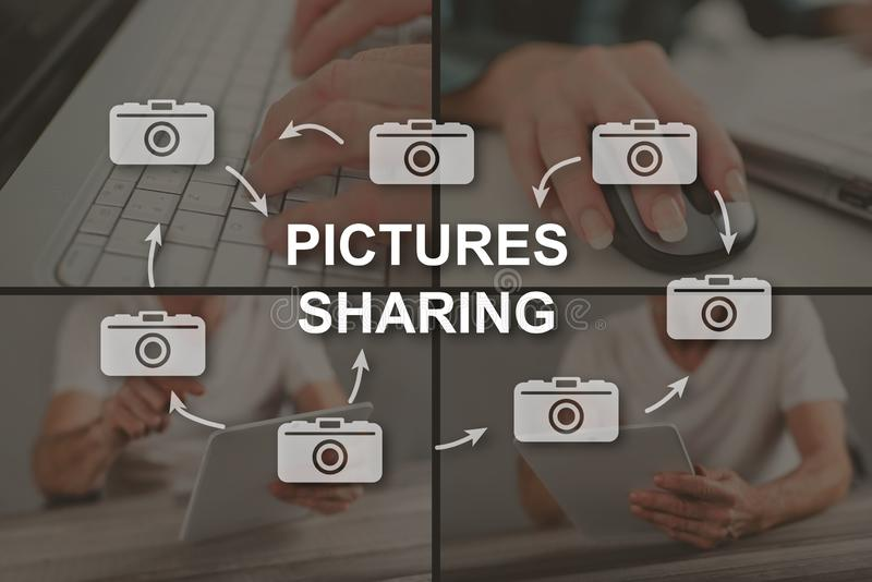 Concept of pictures sharing royalty free stock photography
