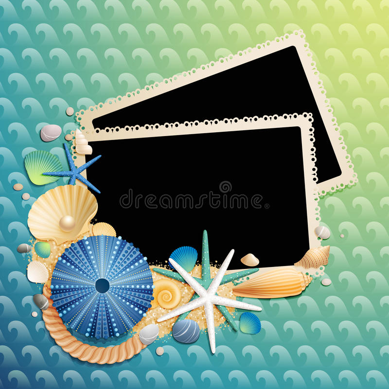 Pictures, shells and starfishes on wave pattern. Vector illustration stock illustration