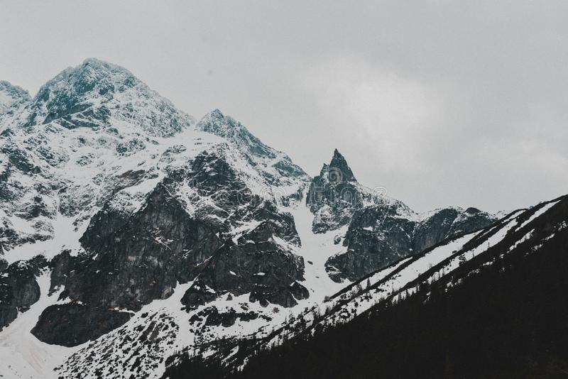 Tatry Mountains Zakopane Landscape. Pictures with snow took in tatry mountains. Beautiful landscape made in Morskie Oko royalty free stock photography