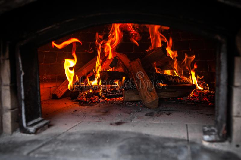 Bread oven, as seen while empty with a fire inside royalty free stock images