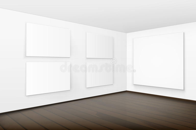 Pictures on Walls with Wooden Floor in Gallery. Vector Empty Blank White Mock Up Posters Pictures Frames on Walls with Brown Wooden Floor in Gallery vector illustration