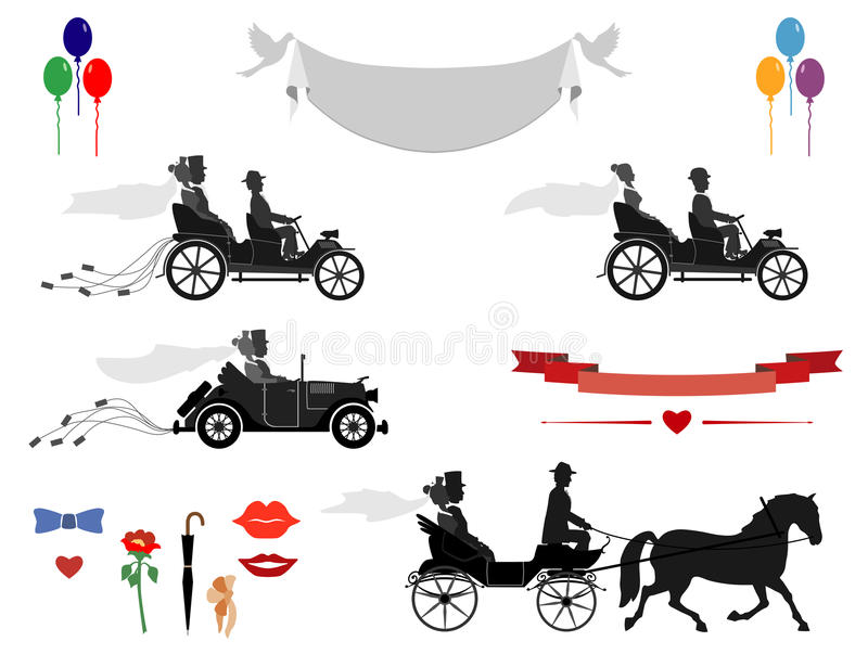 Pictures of your cards and invitations. Set of wedding invitations vintage cars and sports cars, horse and carriage . Different subjects for designers royalty free illustration