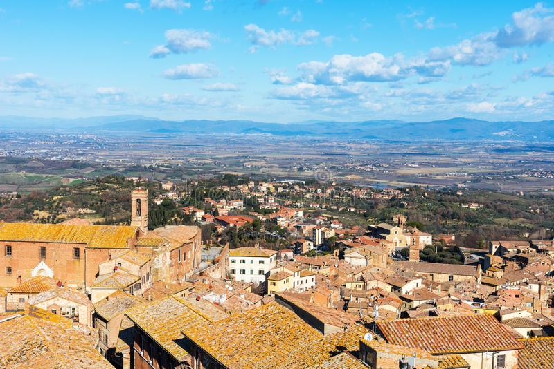 Picturesque aerial view of the medieval town Montepulciano in Tuscany, Italy. Aerial view of the historical centre in winter. Picturesque aerial view of the stock image