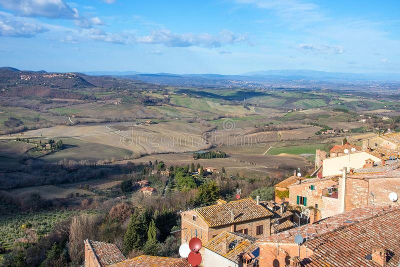 Picturesque aerial view of the medieval town Montepulciano in Tuscany, Italy. Aerial view of the historical centre in winter. Picturesque aerial view of the royalty free stock photography