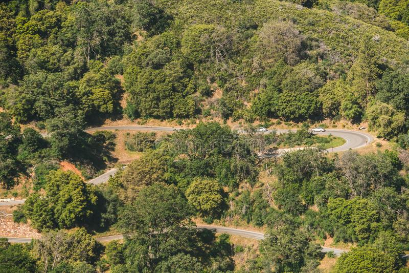 Aerial view of the picturesque green forest and winding road in Sequoia National Park, California, USA royalty free stock image