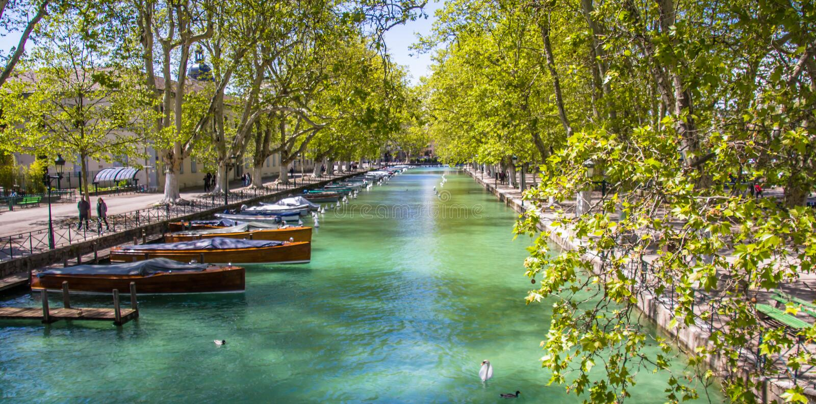 Annecy, France,Picturesque Alpine town in southeastern France, aka the`Pearl of French Alps`  or  `Venice of the Alps. Picturesque Alpine town in southeastern stock image