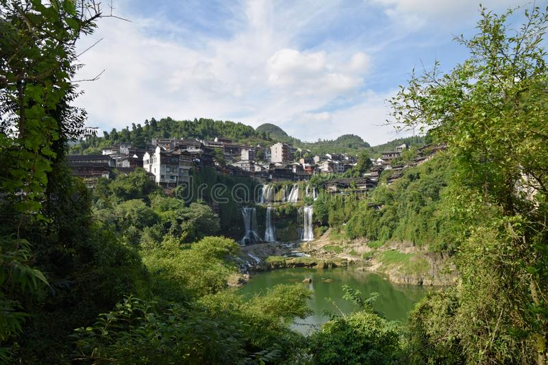 Picturesque ancient town in Hunan province in China - Hibiscus town. stock photo