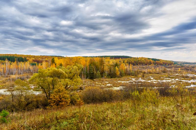 Picturesque autumn landscape. View from the hill to the lowland with forest and swamps. Beautiful natural background royalty free stock images