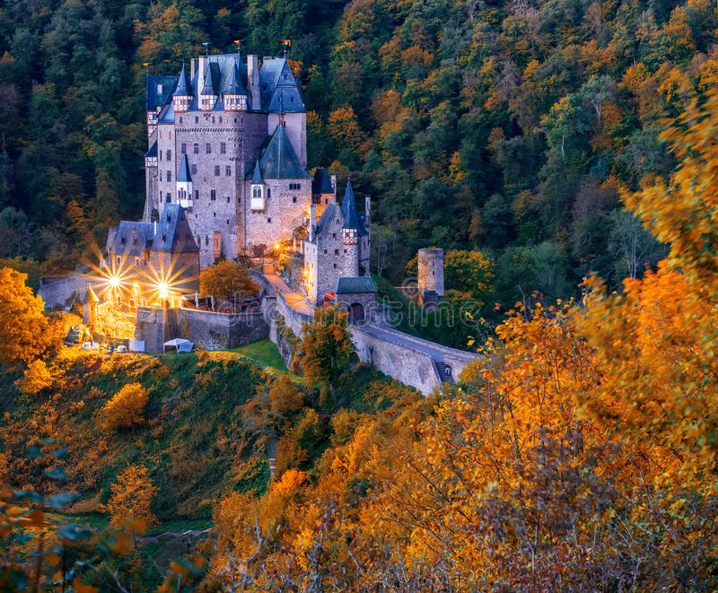 Picturesque autumn scenery of Burg Eltz castle at twilight, Rhineland-Palatinate, Germany royalty free stock image