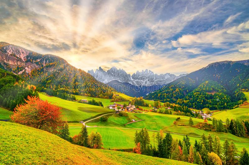 Colorful autumn scenery in Santa Maddalena village at sunrise. Dolomite Alps, South Tyrol, Italy. Picturesque autumn scenery in Santa Maddalena village with royalty free stock images