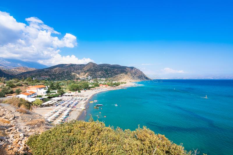 The picturesque beach of Agia Galini at the South Crete, Greece royalty free stock photos