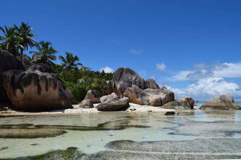 Seychelles. La Digue Island. The most beautiful beach in the world for wedding stock photo