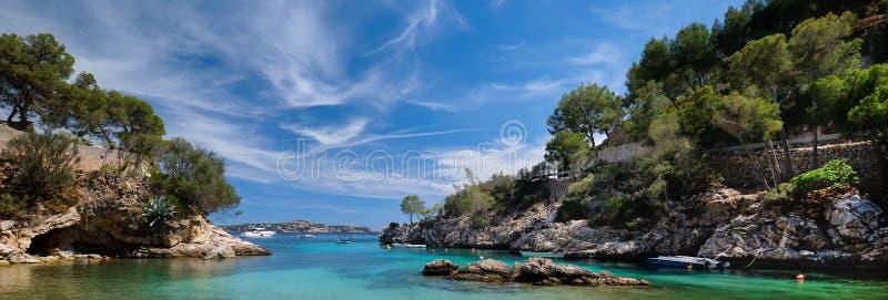 Picturesque beach Calo de ses Llises panoramic image, Calvia, Mallorca Island, Baleares, Spain stock photos