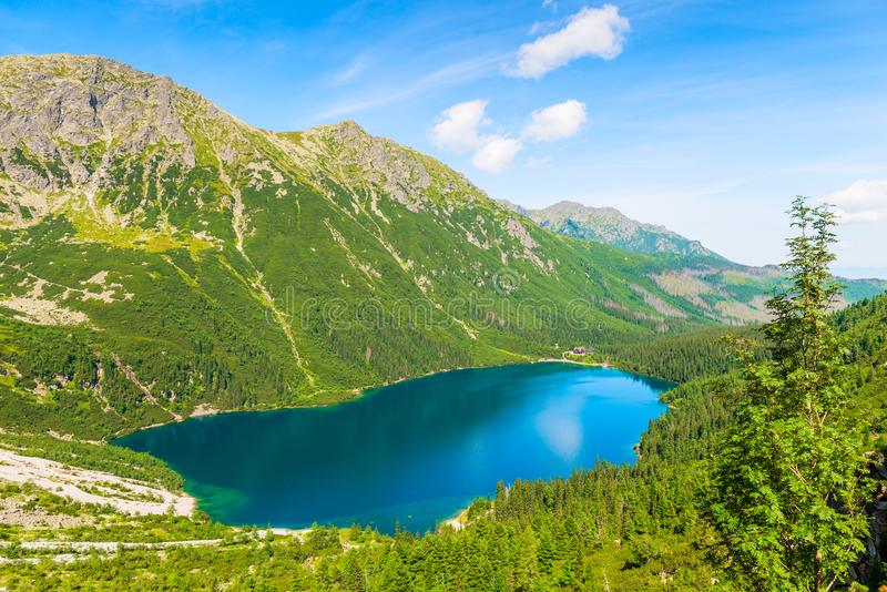 Picturesque beautiful mountain lake Morskie Oko sight-seeing of. Poland in the Tatra mountains view from above royalty free stock photography