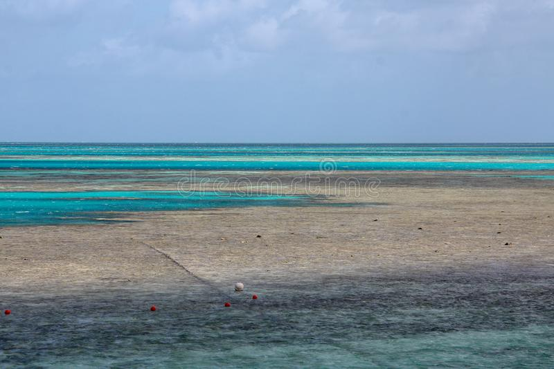 Picturesque blue ocean on Great Barrier Reef stock photos