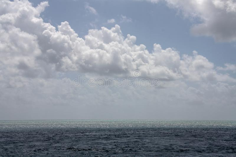 Picturesque blue ocean on Great Barrier Reef royalty free stock photography