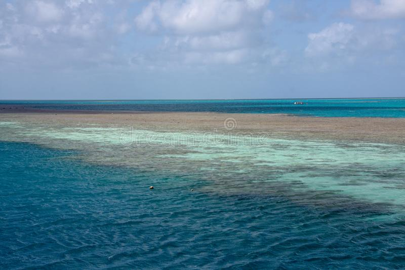 Picturesque blue ocean on Great Barrier Reef stock images