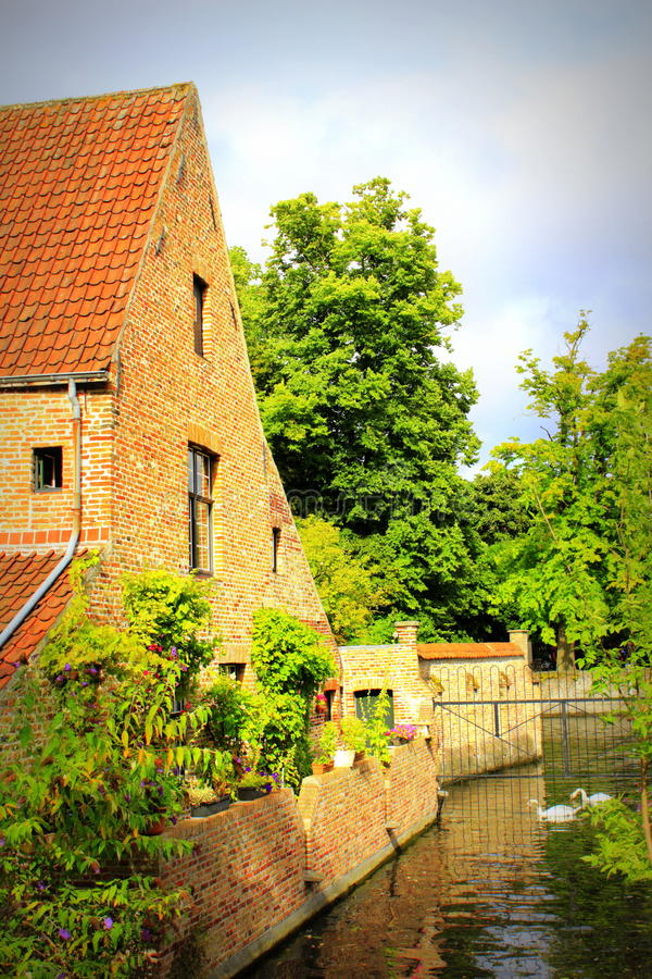 Picturesque Bruges canal view Belgium royalty free stock photo