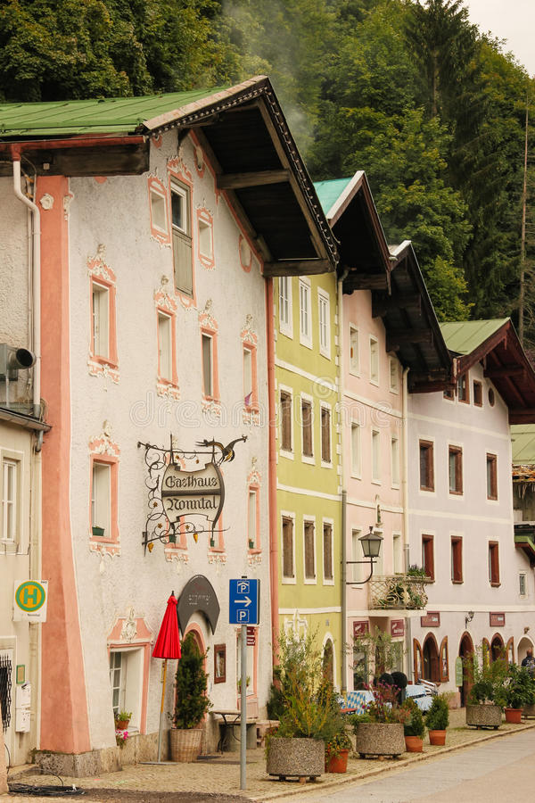 Picturesque buildings in the old town. Berchtesgaden.Germany stock photography