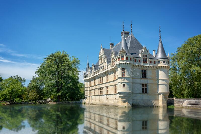 Picturesque castle of Azay-le-Rideau with water reflections, Loire Valley France stock images