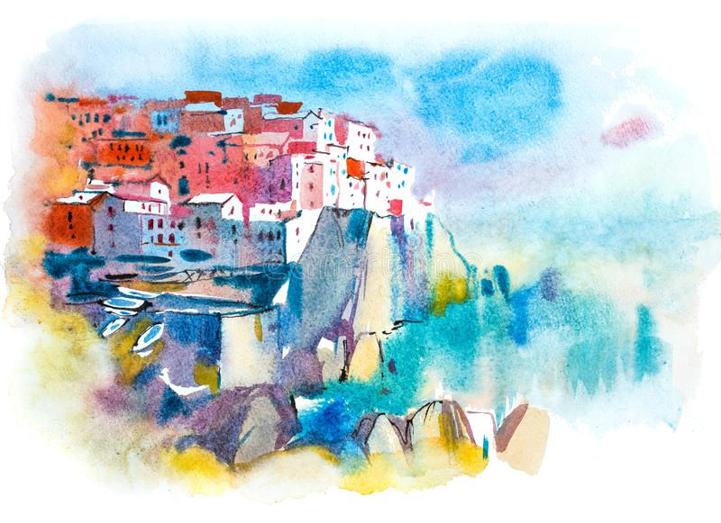 Picturesque city landscape. Summer resort town Watercolor illustration. royalty free illustration