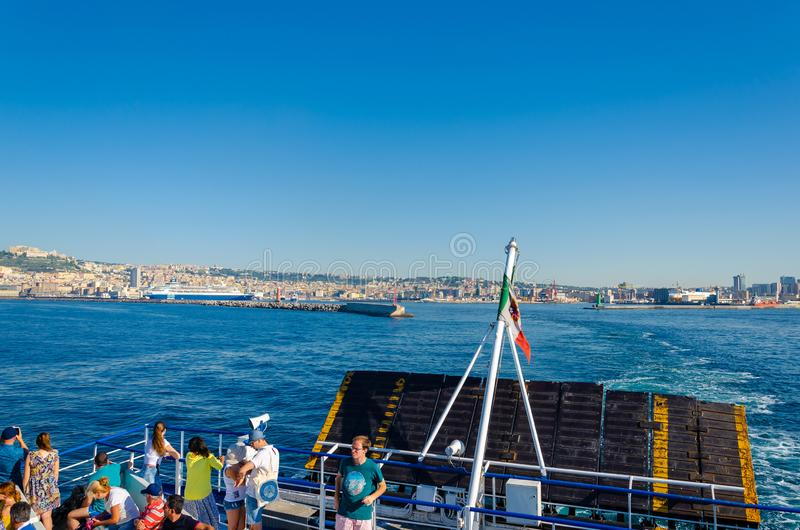 Napoli,Campania/Italy-July 17, 2019: Picturesque cityscape of Naples from the passenger ship in Tyrrhenian sea. Travel destination. Picturesque cityscape of stock photos