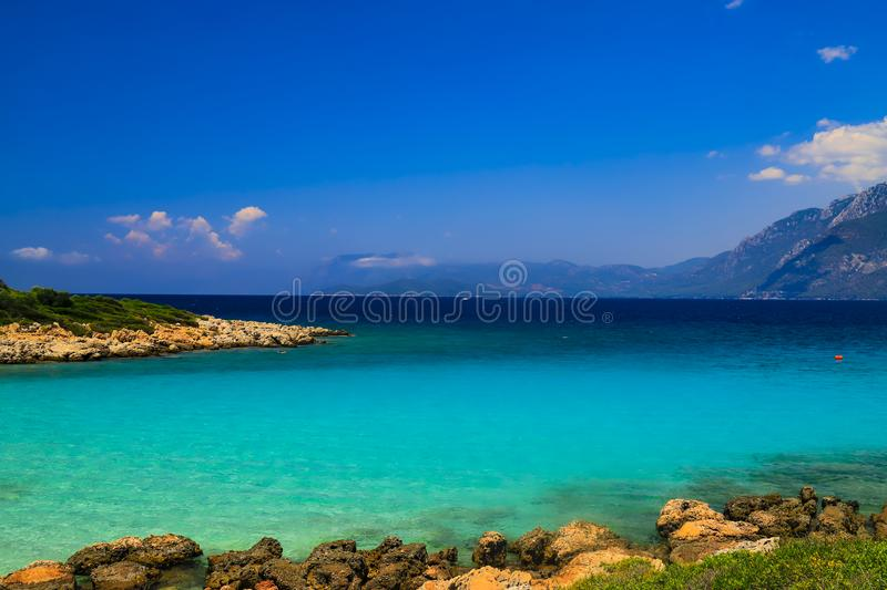The picturesque Cleopatra beach in the Aegean Sea in Turkey,near Bodrum and Marmaris - a beautiful place for excursions and travel stock photography