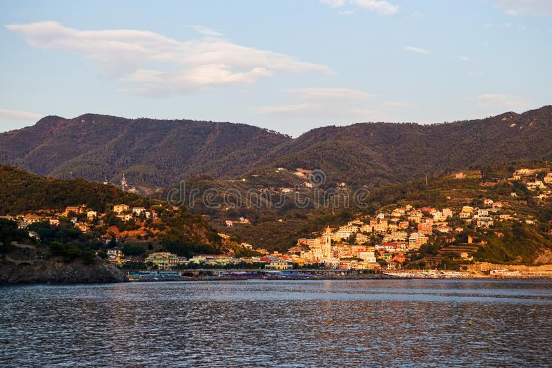 Coastal town of Moneglia, Cinque Terre stock image