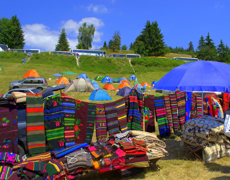 Picturesque colorful rugs openair stall stock photography