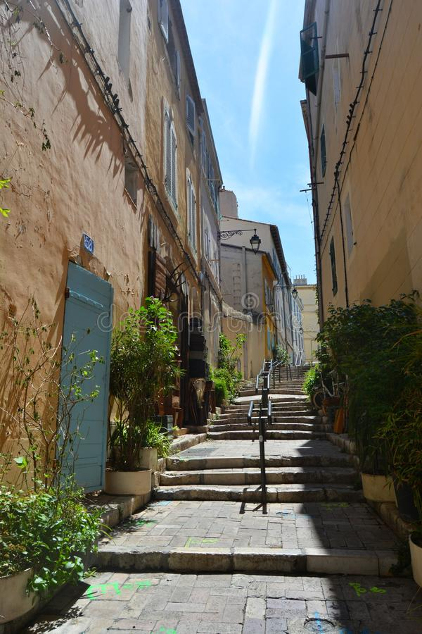 The picturesque and colorful streets of the old town of Marseille, France. The picturesque and colorful streets of the old town of Marseille, in summer. France royalty free stock image
