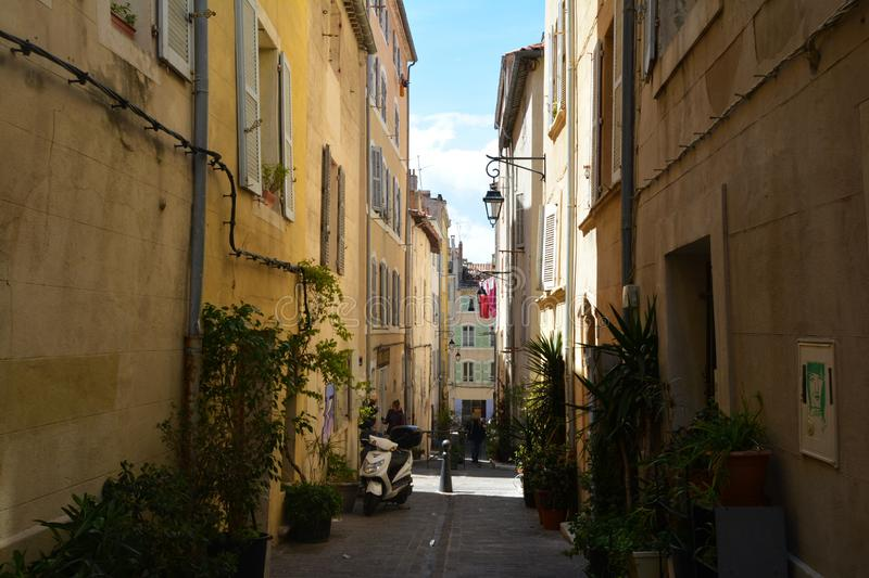 The picturesque and colorful streets of the old town of Marseille, in summer. France. The picturesque and colorful streets of the old town of Marseille, in royalty free stock photos