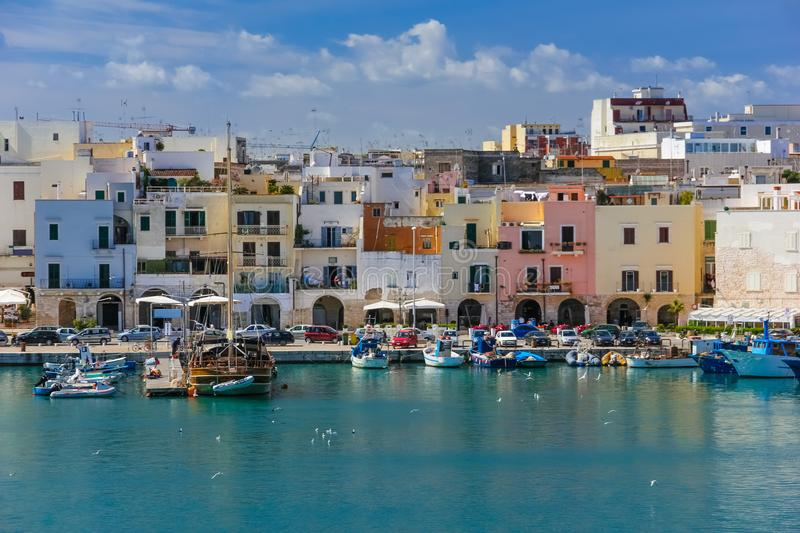 Colourful buidings on the seafront. Trani. Apulia. Italy royalty free stock photo