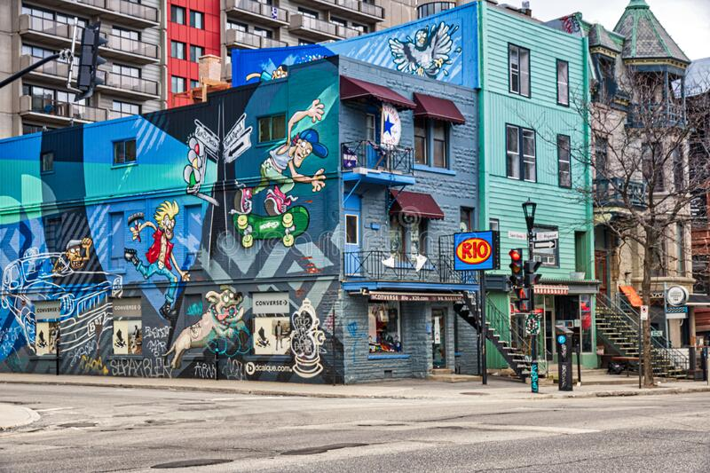 Picturesque corner of St Denis and Rigault streets in Montreal Quebec Canada stock photography