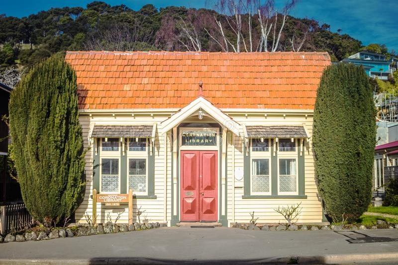 The picturesque Coronation Library landmark building in Akaroa. Akaroa, New Zealand - 27 August 2016: The picturesque Coronation Library landmark building in royalty free stock images