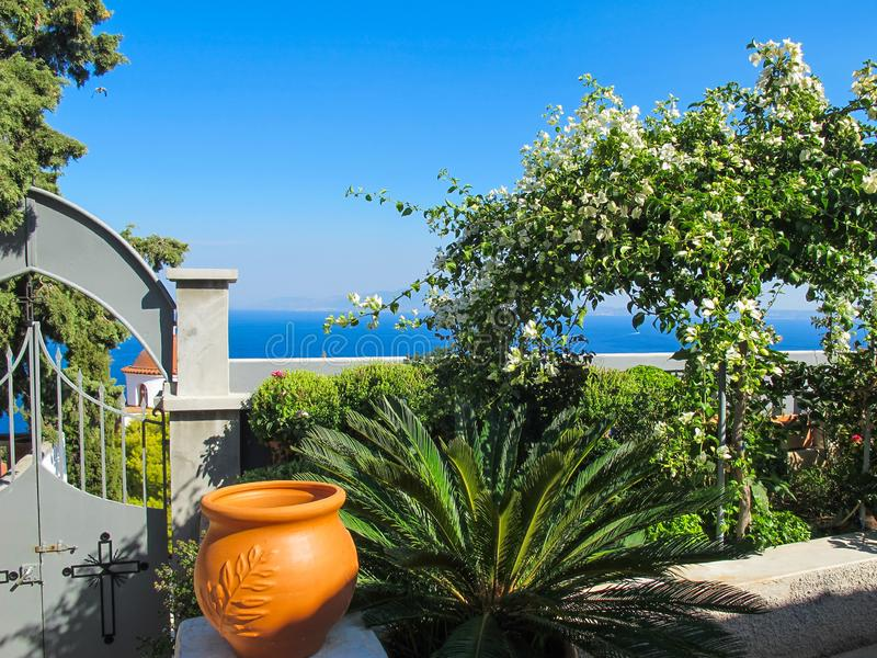 Picturesque courtyard in the monastery of Saint Savvas on the Greek island of Kalymnos stock photos