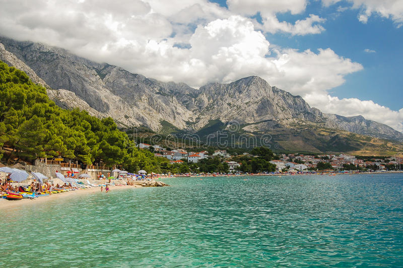 Picturesque dalmatian beach in baska voda, croatia stock photos