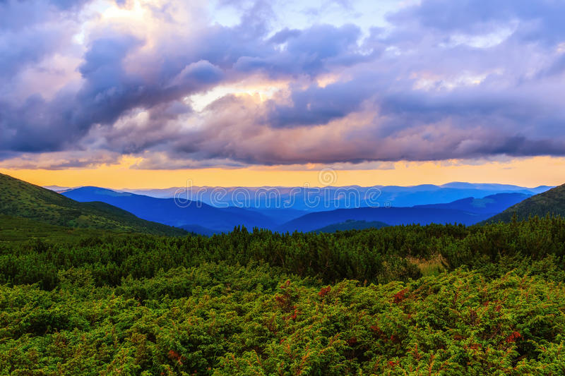 Picturesque and dramatic Carpathian mountains landscape, sunset evening time, Ukraine. Picturesque and dramatic Carpathian mountains landscape, sunset evening royalty free stock photos