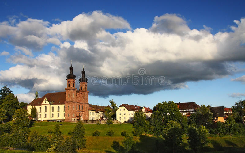 Picturesque German town with a church at sunset