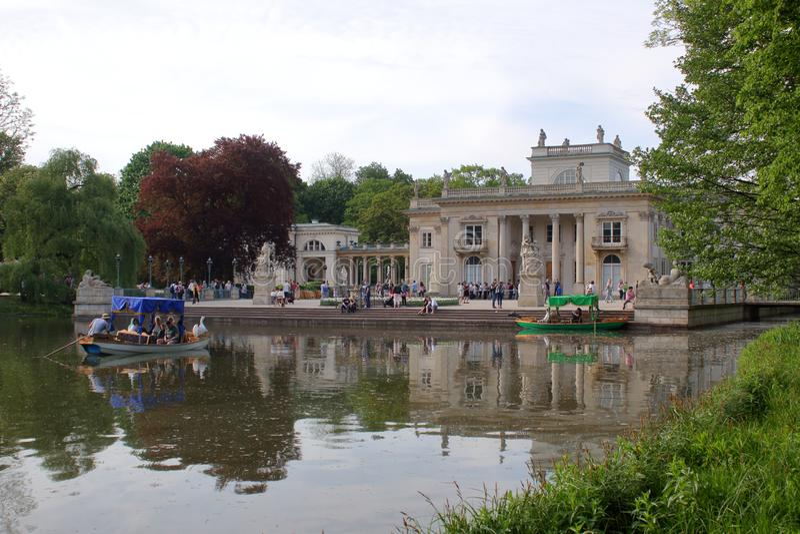 Picturesque gondolas in the Kralevski Lazienki park stock photography