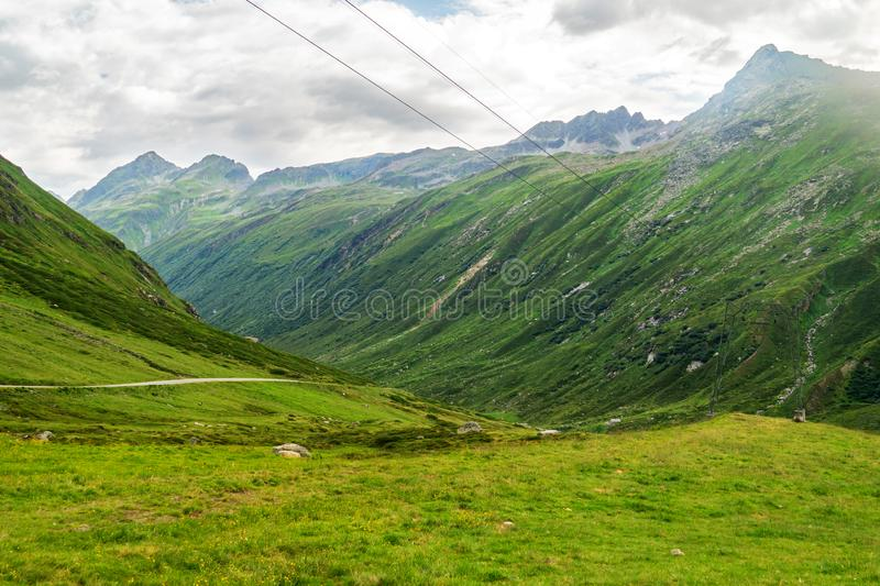 Picturesque green valley in the austrian alps. In summer stock images