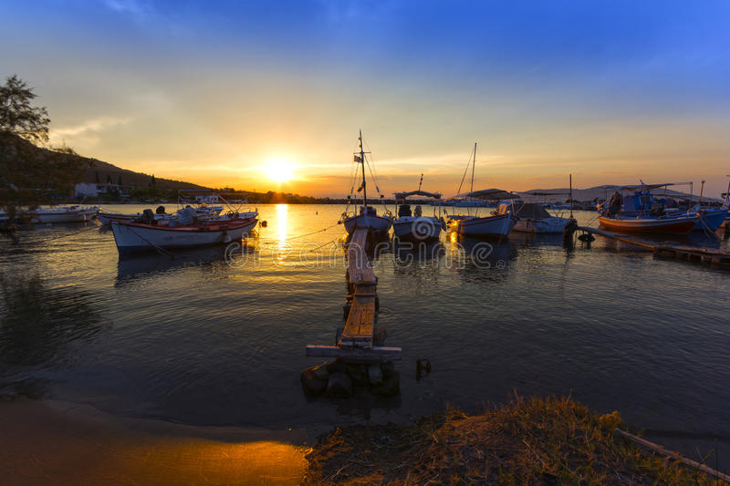 Picturesque harbor at sunset royalty free stock photo