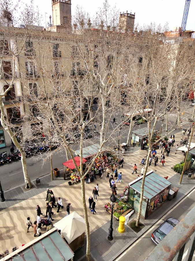 Picturesque houses at La Rambla, Barcelona stock images