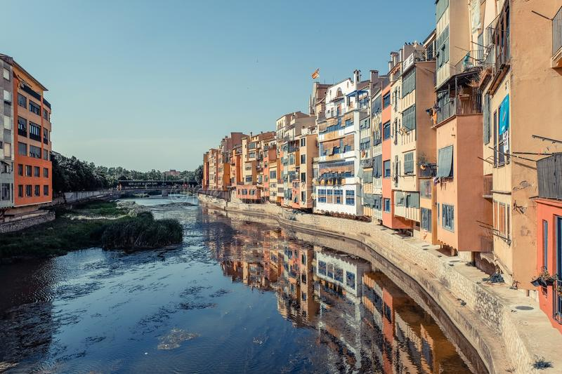 Picturesque houses in Girona, Spain royalty free stock photo