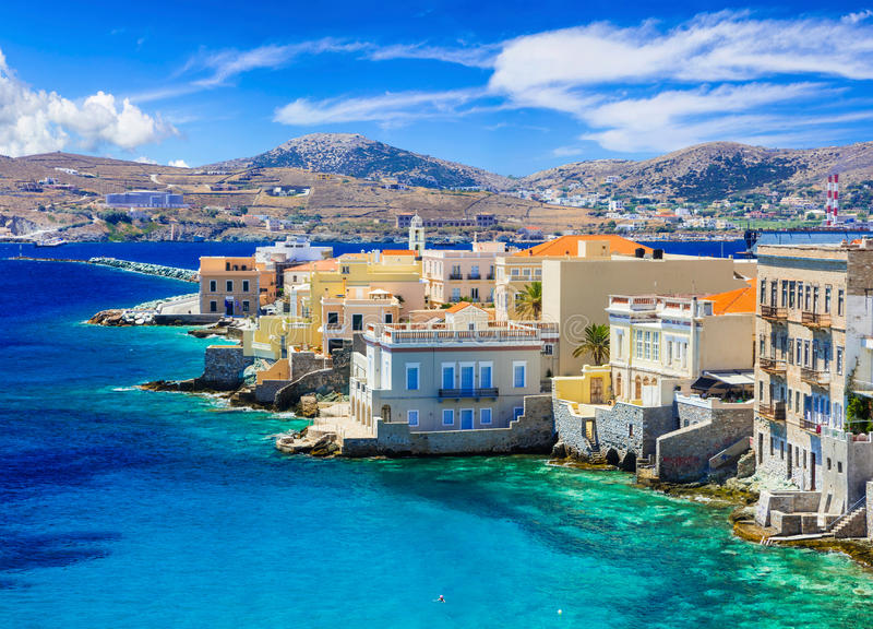 Picturesque island Syros - view of popular little venice. stock photo
