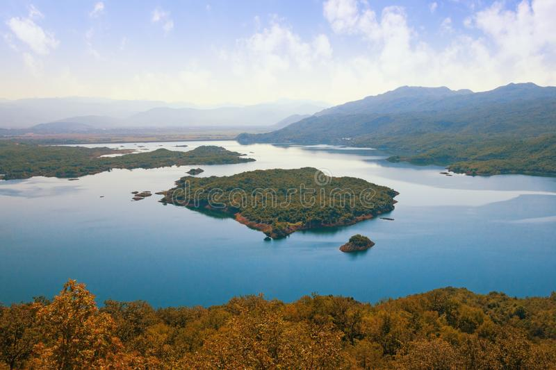 Picturesque lake with many small islands. Montenegro, Salt Lake. Picturesque lake with many small islands. Montenegro, Niksic, view of Salt Lake stock photos