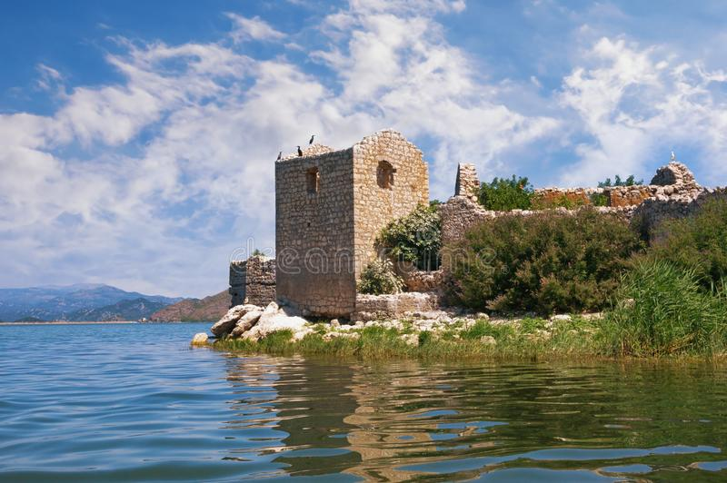 Picturesque lake with ruined fort on small island. National Park Lake Skadar and Fortress Grmozur on summer day. Montenegro. Picturesque lake with ruined fort on stock photo