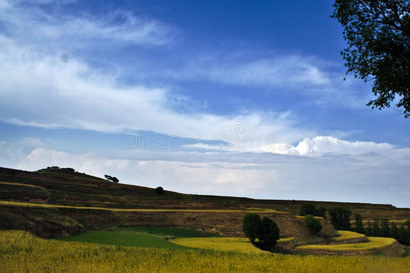 Picturesque landscape. Scenic view of picturesque terraced landscape under cloudscape stock images