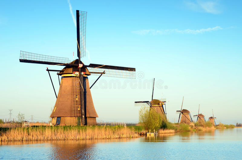 The picturesque landscape with aerial mills on the channel in Kinderdiyk, Netherlands royalty free stock photos